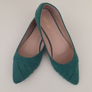 Ollio Aquagreen Faux suade Pointed Toe Flats